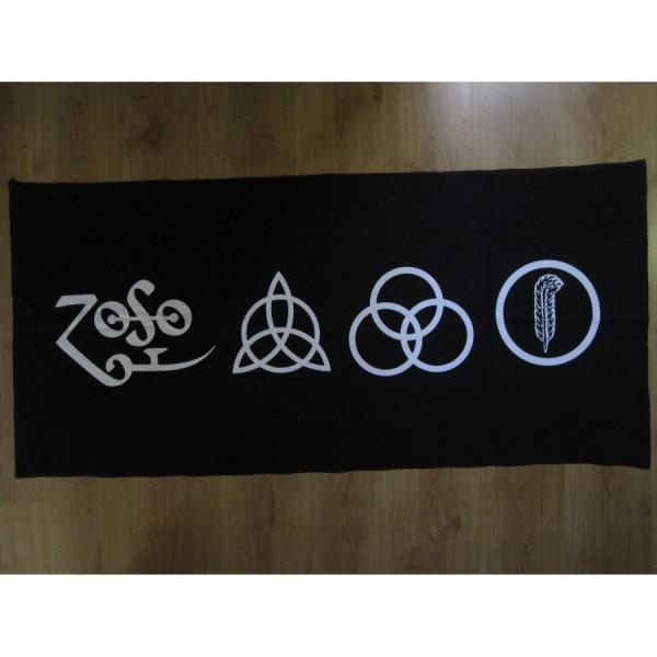 Led Zeppelin The Four Symbols Black Beach Towel