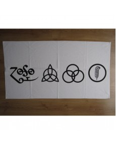 Led Zeppelin  - The four symbols White  Beach Towel